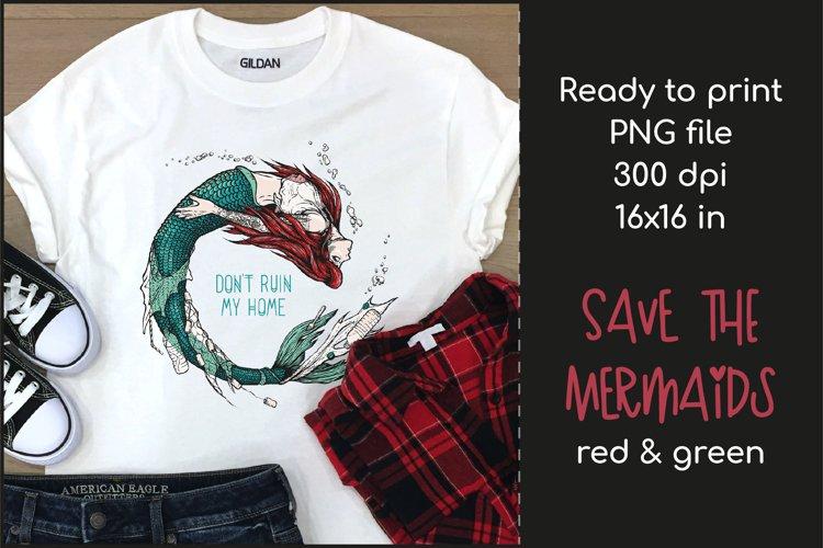 Sad Mermaid T-shirt Design, Mermaid Sublimation PNG example image 1
