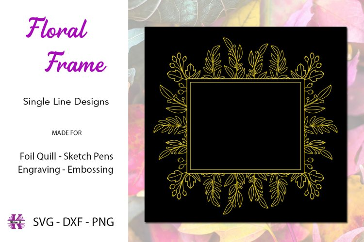 Floral Frame for Foil Quill|Single Line Design example image 1