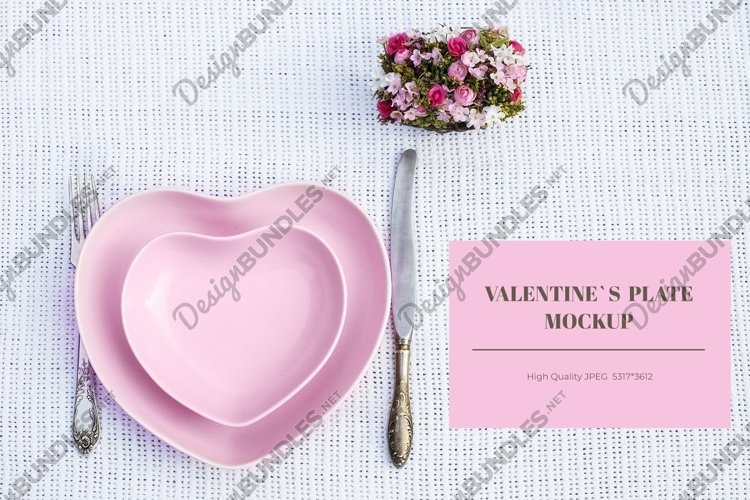 Valentines day mockup with heart shaped plate example image 1