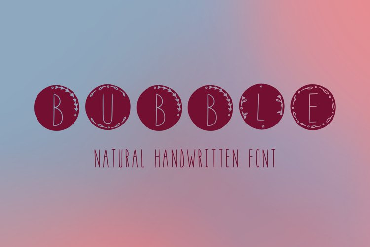 Bubble handwritten natural font in ttf, otf example image 1