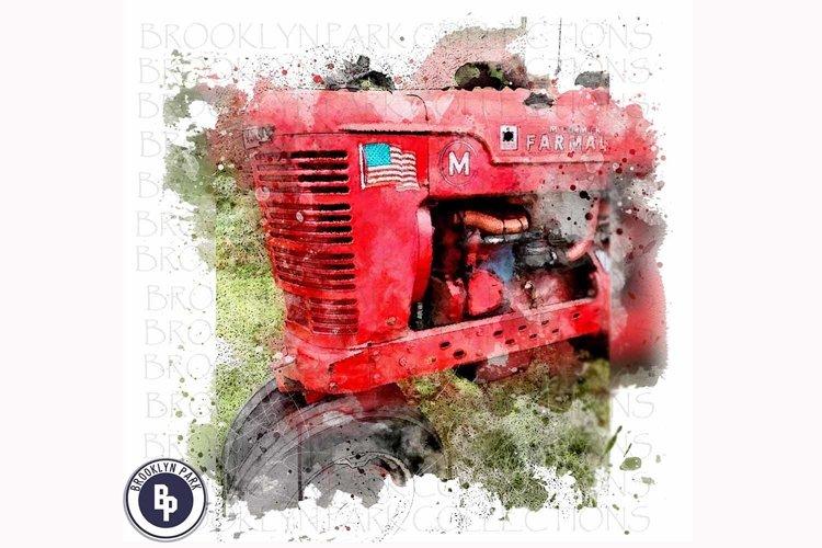 Watercolor Farm Tractor Art, Sublimation PNG