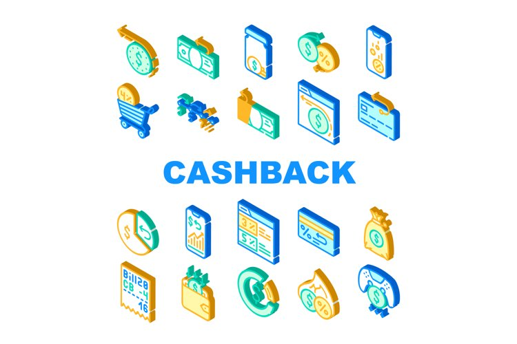 Cashback Money Service Collection Icons Set Vector example image 1