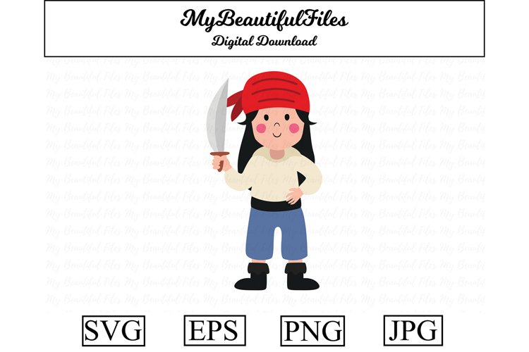 Pirate Female SVG - Cute Pirate SVG, EPS, PNG and JPG example image 1