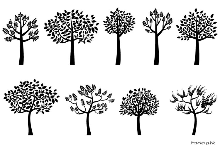 Black tree silhouette clipart, Trees with leaves clip art