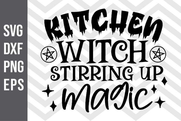 Kitchen Witch Stirring up magic SVG example image 1