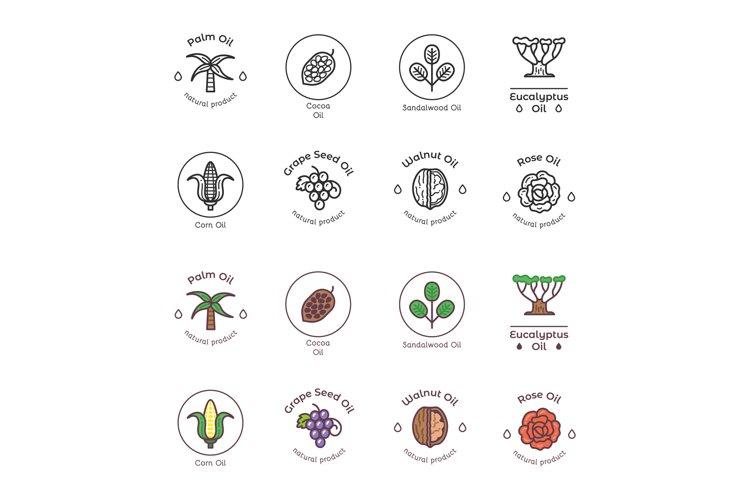 Healthy bio cosmetics oil linear logos. Organic cosmetics in example image 1
