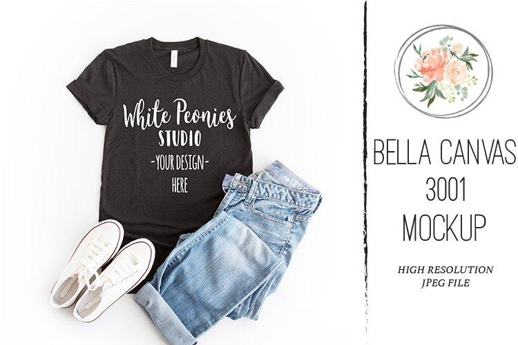 Heather Black Bella Canvas 3001 Shirt Mockup example image 1