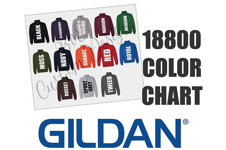Gildan 18800 Quarter Zip Sweatshirt Color Chart example image 1