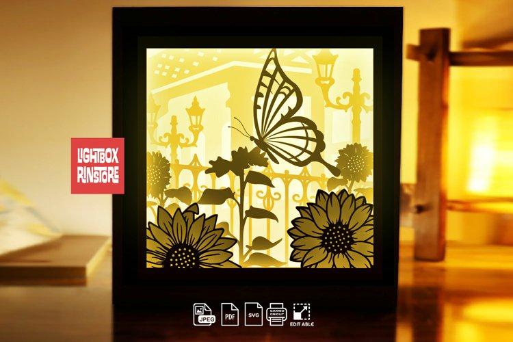 #231Butterfly and Sunflower, 3D Shadow box paper cut light