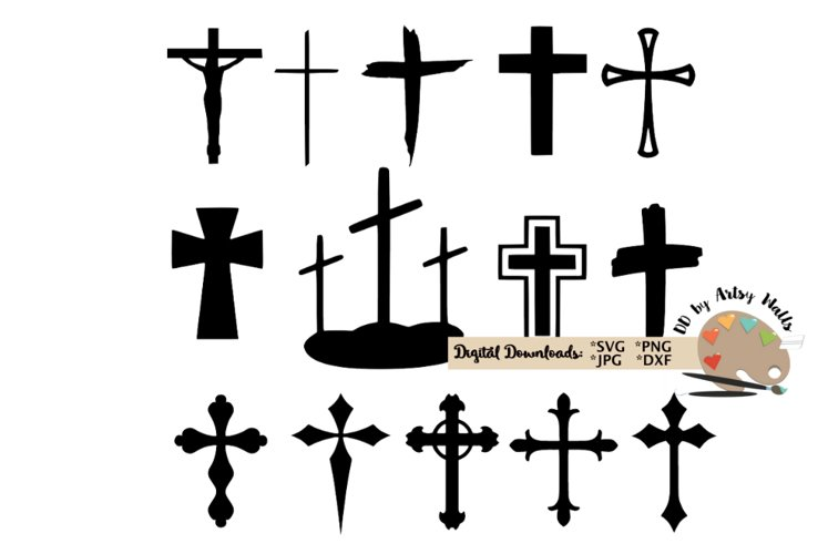 Cross bundle, Christian faith cross, Catholic cross svg dxf example image 1