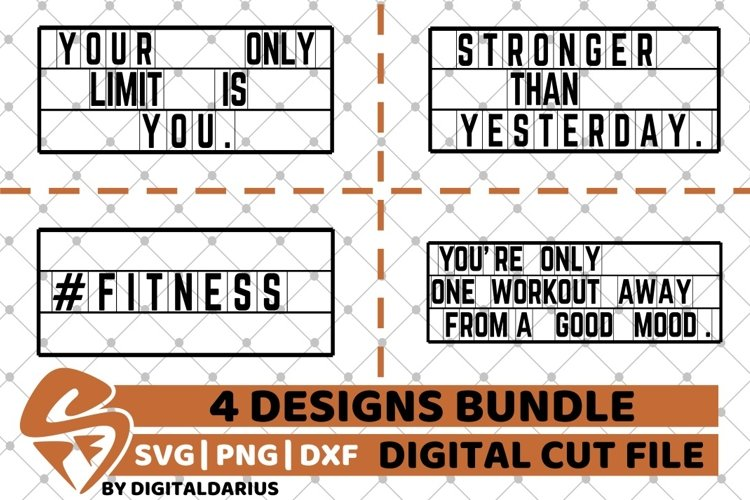 4x Fitness Quote Designs Bundle svg, Motivation svg, Workout example image 1