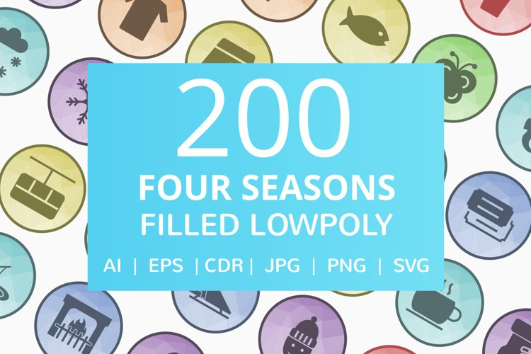200 Four Seasons Filled Low Poly Icons example image 1