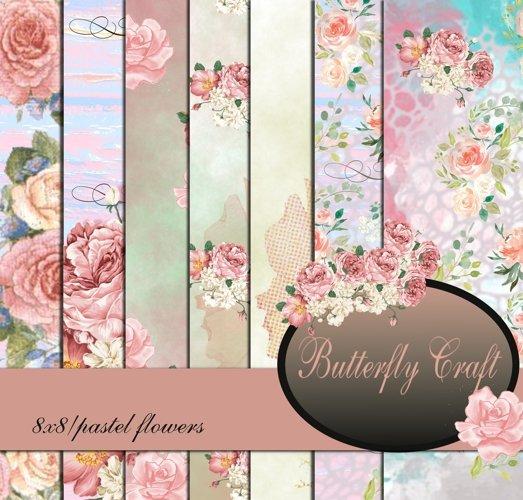 Pastel Flowers Digital Paper, Flower digital paper example image 1