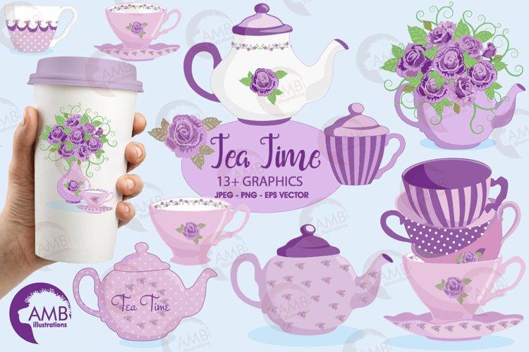Lavender Tea Pots cliparts, graphics, illustrations AMB-1196