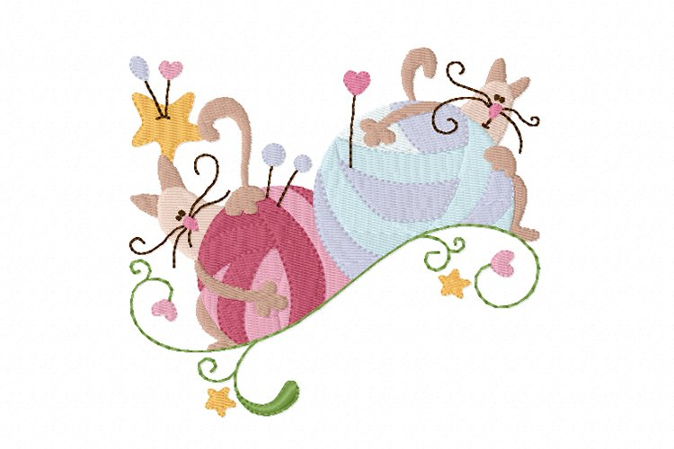 Knitting Kittens 2 Machine Embroidery Design in 3 sizes example image 1