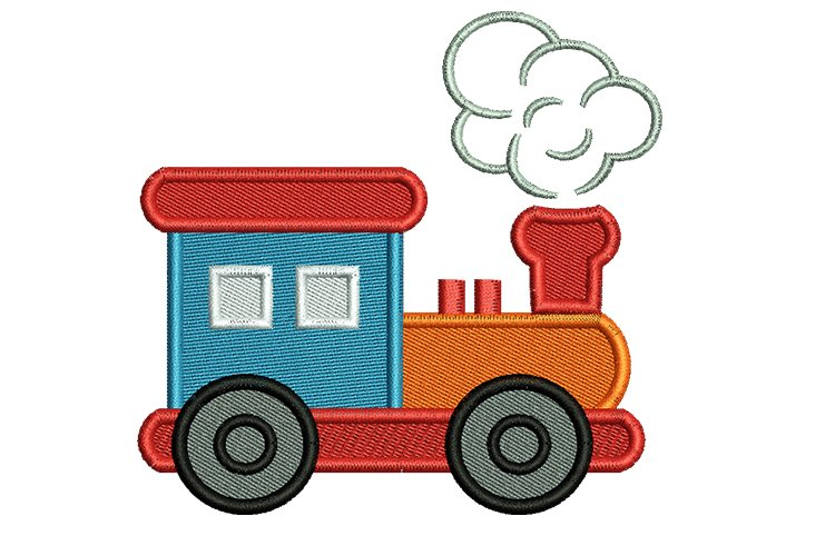 Funny train machine embroidery designs example image 1