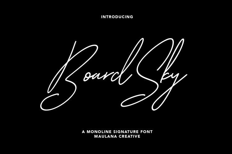 Boardsky Monoline Signature Font example image 1