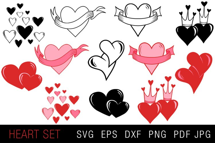 Set of Hearts SVG - Valentines Day or Wedding