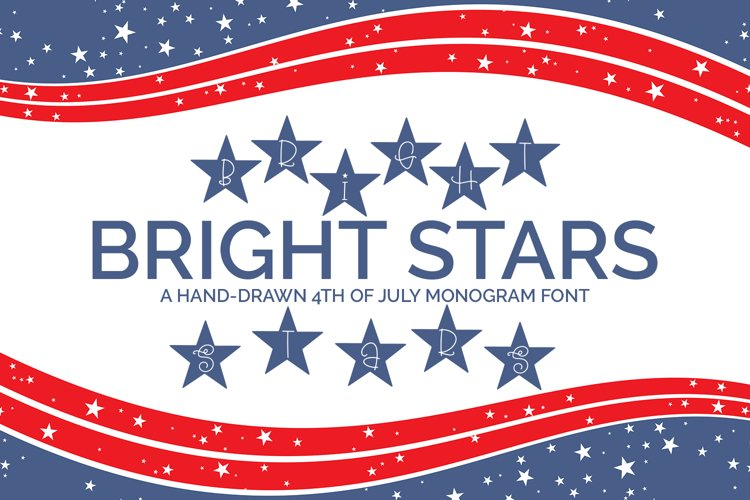 Bright Stars - A Hand-Drawn 4th of July Monogram Font example image 1