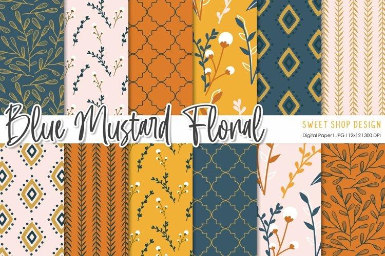 Digital Paper Pack Blue Mustard Floral