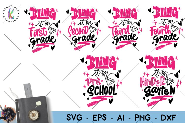 Bling it On svg Back to school pack svg Bling example image 1