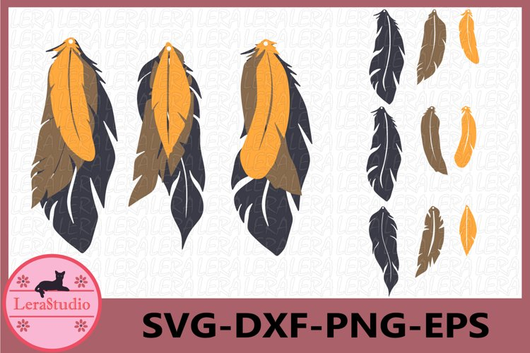 Earrings SVG, Leather Earrings Svg, Earring Feather Svg