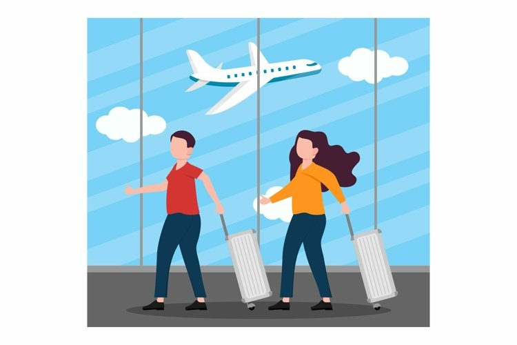 People Travelling concept at Airport flat design example image 1