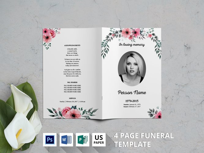 Watercolor Flower Funeral Template-v03 example image 1