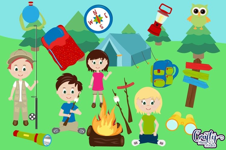 Camping Clipart, Summer Camp Clip Art, Camp Scrapbooking