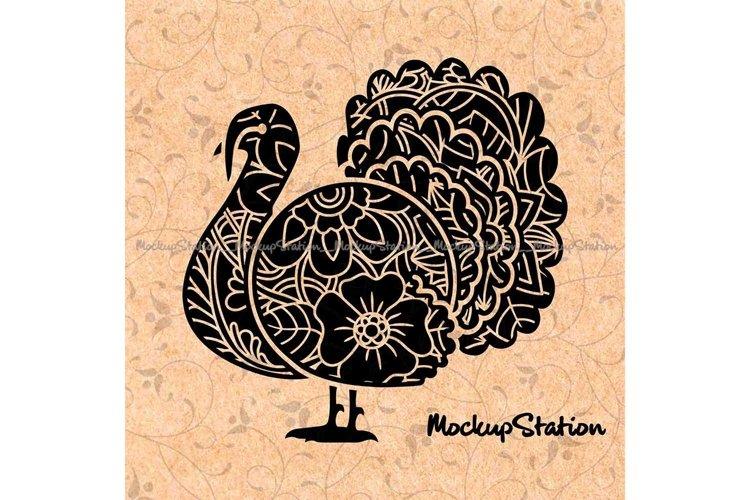 Turkey Floral Mandala SVG, Thanksgiving Fall Decor PNG example image 1