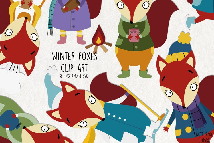 Winter Foxes Clipart SVG Clip Art. Cute Foxes Clip Art example image 1