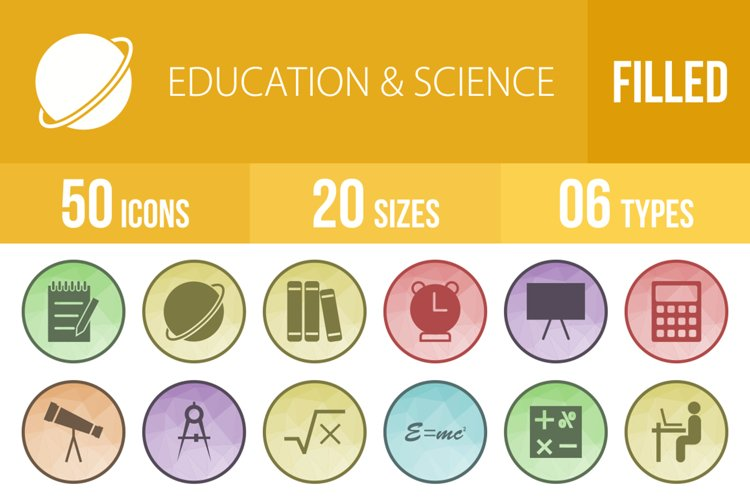 50 Education & Science Filled Low Poly Icons example image 1