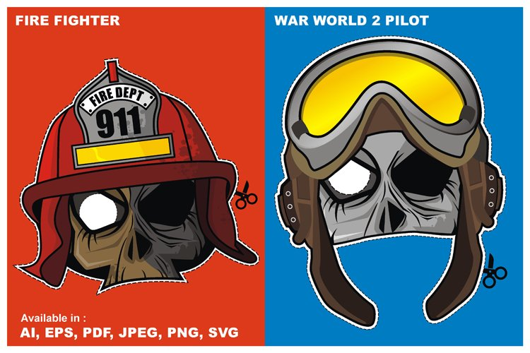 Zombie Invasion Paper Mask - Fire Fighter and Pilot