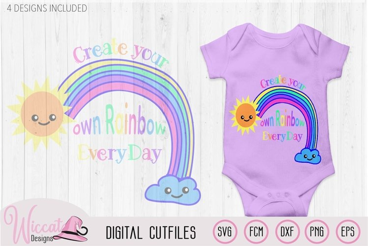 Make your own rainbow quote svg, kawaii rainbow, Kids design example image 1