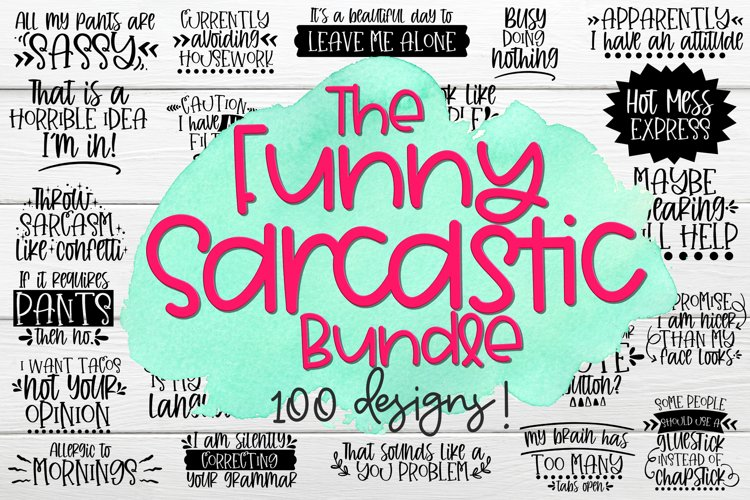 The Funny Sarcastic Bundle - Bundle of 100 SVGs example image 1