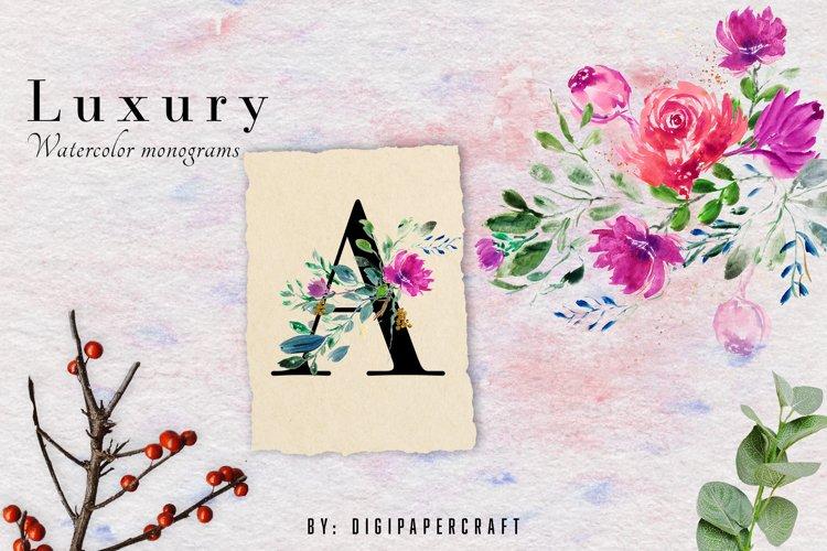 Romantic watercolor floral Monogram, Alphabets & Numbers set