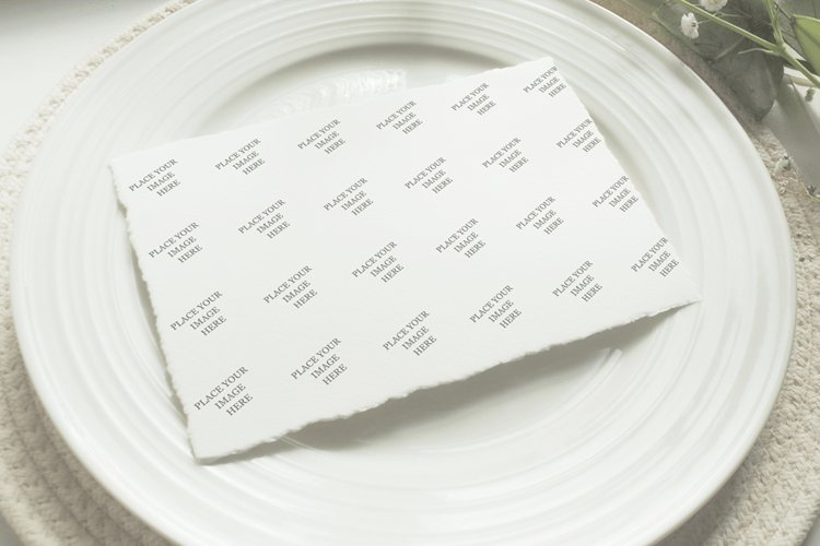 Mockup Wedding Plate, deckled edge photorealistic mockup example image 1