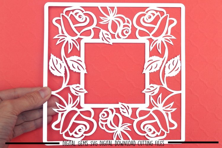 Rose frame paper cut SVG  DXF  EPS files example image 1