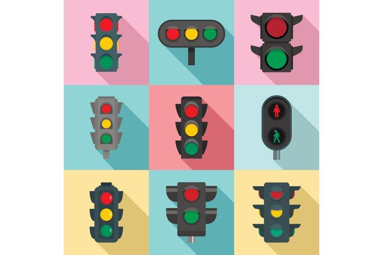 Traffic lights icon set, flat style example image 1