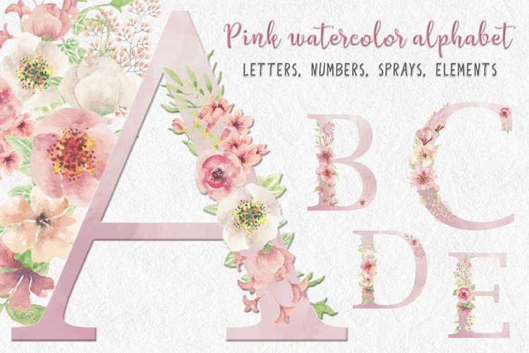 Pink watercolor alphabet, numbers and sprays + FREEBIE!