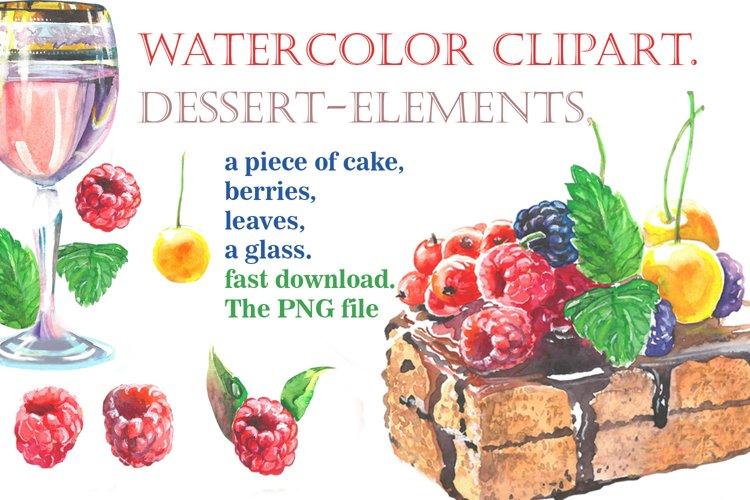 Dessert-elements, Watercolor clipart example image 1