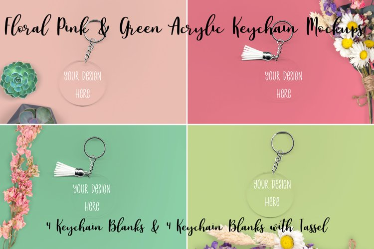 Spring Floral Pink & Green Clear Acrylic Mockups Keychains