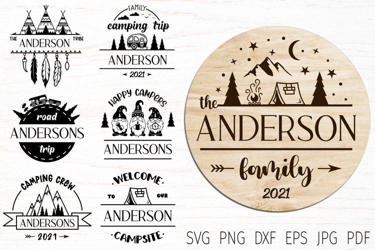 Family Monogram, camping split monogram svg, camping svg cut
