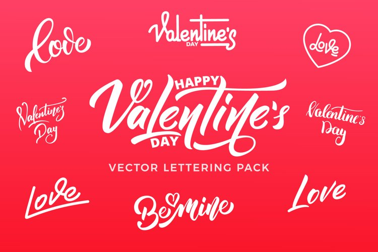 Valentines Day vector lettering pack