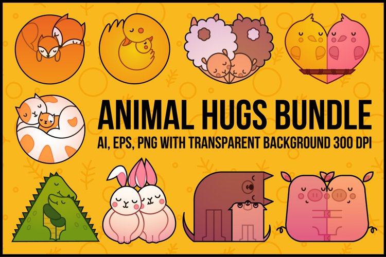 Animal Hugs Bundle - Illustrations and patterns example image 1