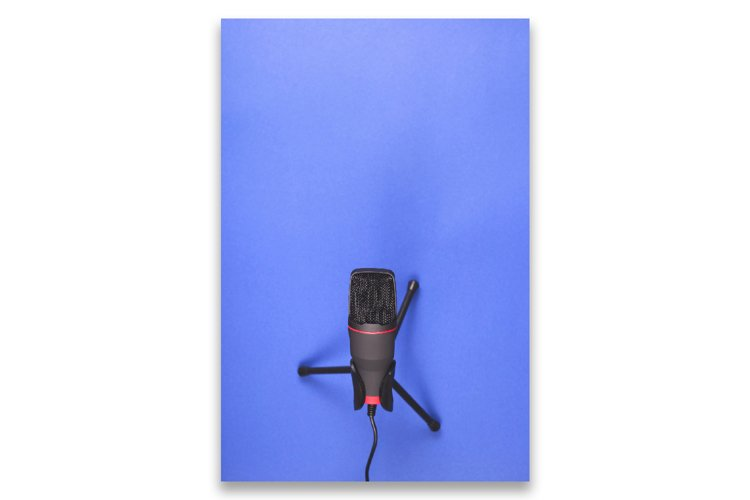 Microphone for recording sound and podcasts on blue. example image 1