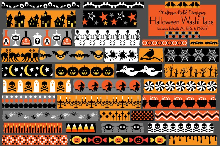 Halloween Washi Tape Clipart example image 1