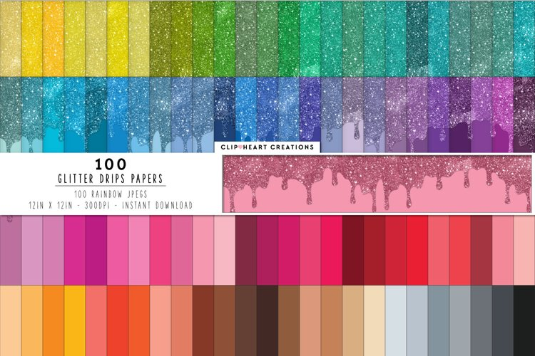 100 Glitter Drip Digital Papers in Rainbow Colors example image 1