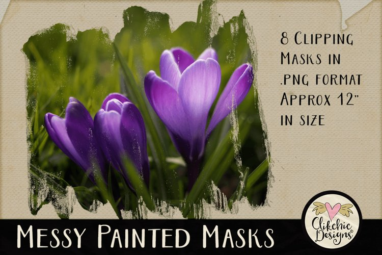 Clipping Masks - Messy Painted Photo Masks & Tutorial example image 1