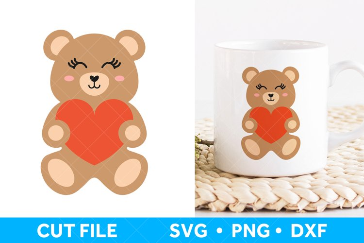 Teddy Bear SVG file, Valentines SVG file, Valentines Day example image 1